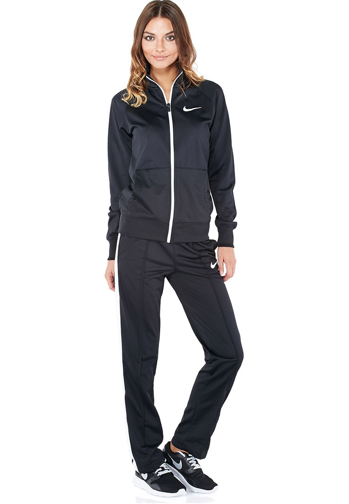 reputable site 64e27 df7c8 Shop Nike black Polywarp Raglan Warm Up Track Suit 639138-010 for Women in  Qatar - NI727AT42PUR