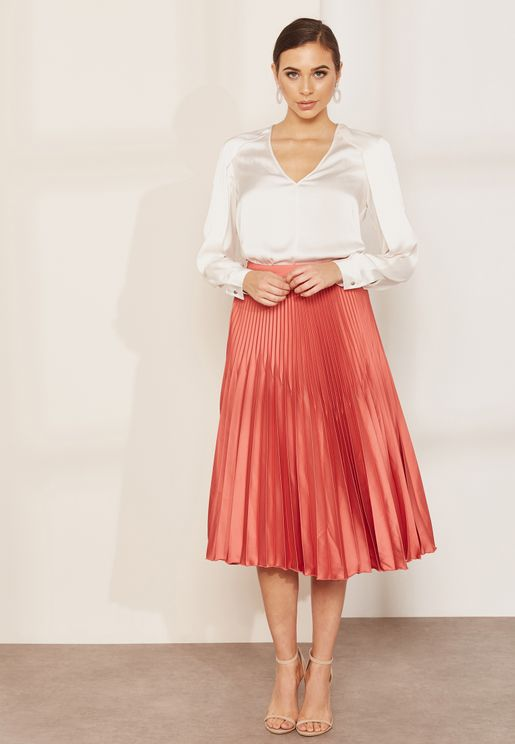 Isidora Pleated Midi Skirt