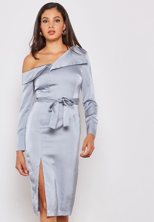 Satin One Shoulder Shirt Dress with Slit
