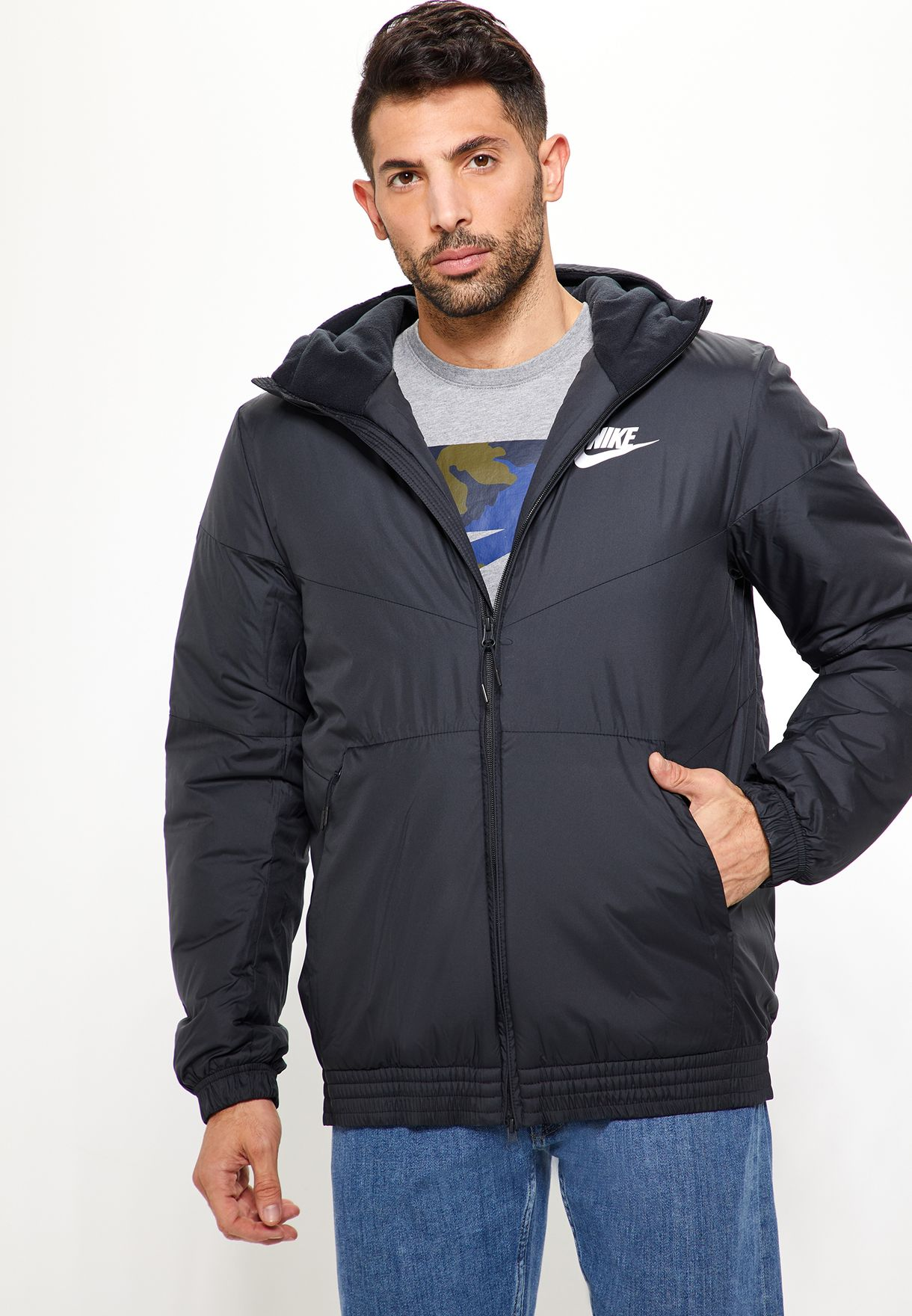 53df0c8a71f0 Shop Nike black Synthetic Fill Hooded Jacket 928861-010 for Men in ...