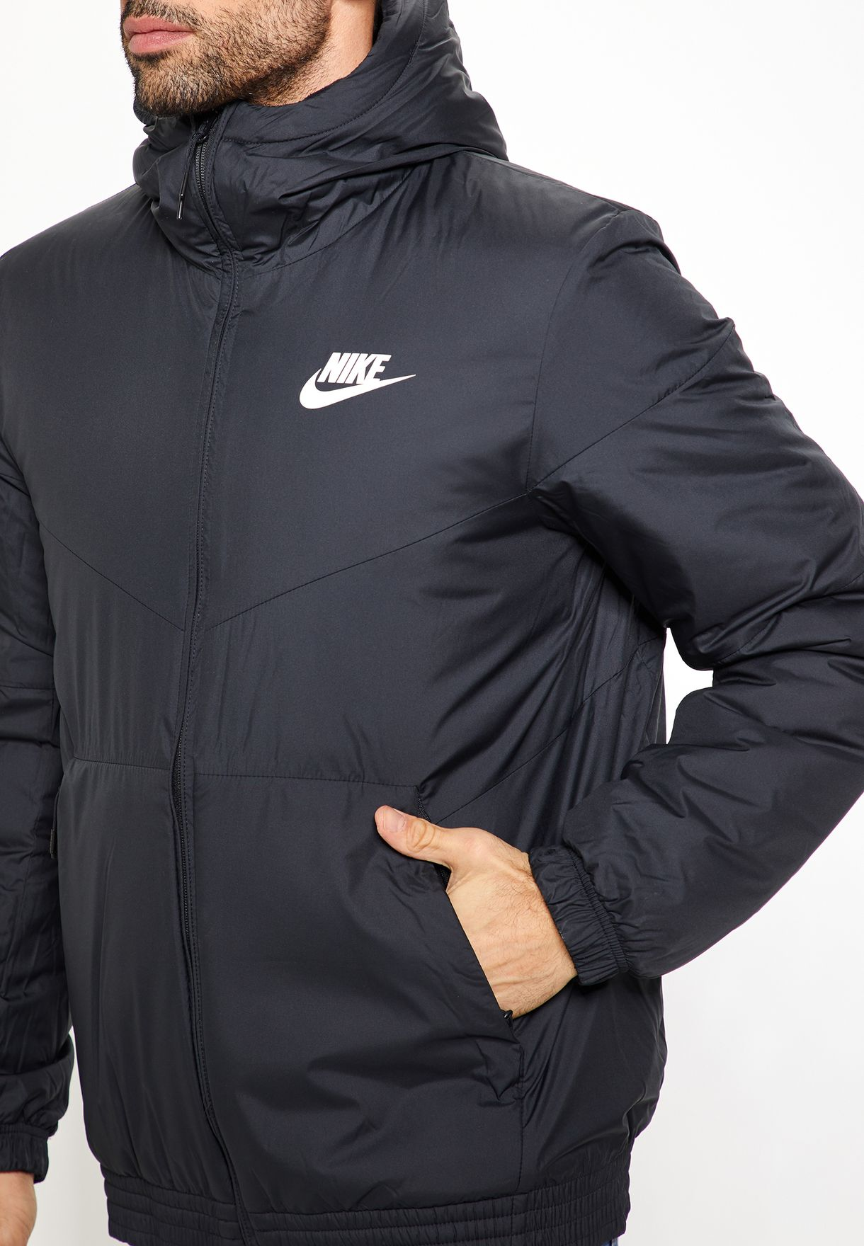 Shop Nike black Synthetic Fill Hooded Jacket 928861-010 for Men in ... 52f138310d4