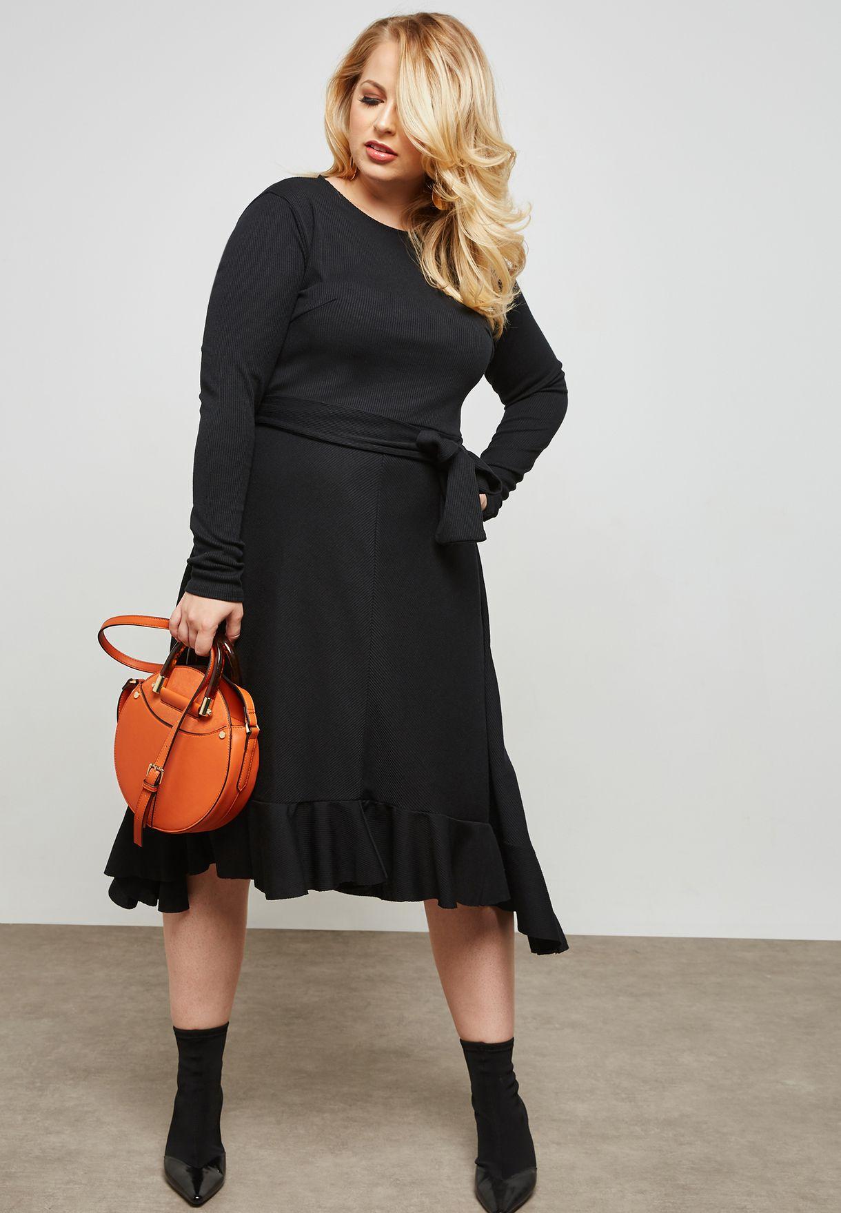 a234ebdf8264 Shop Lost Ink Plus black Asymmetric Midi Dress 1103115020360001 for ...