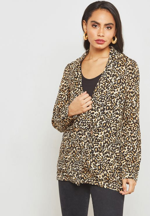 Animal Print Double Breasted Blazer