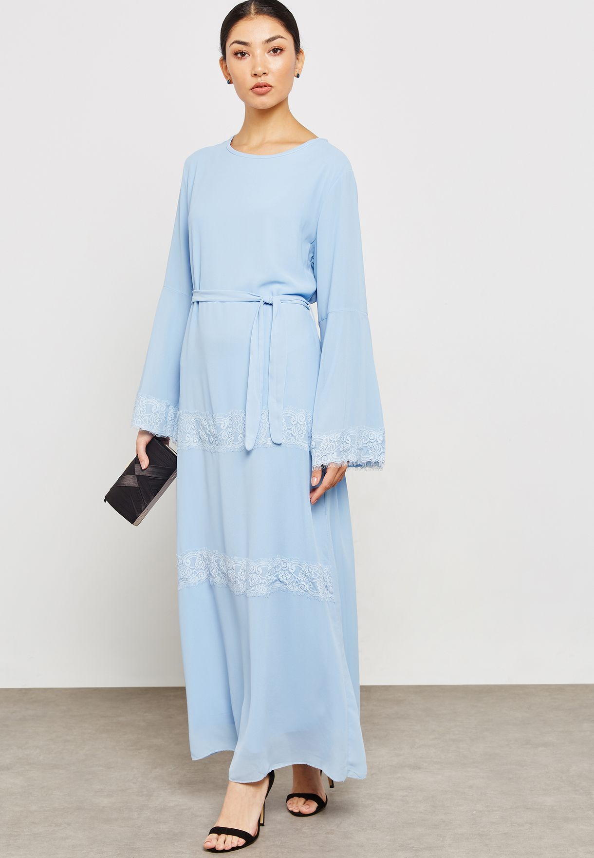 Lace Insert Detail Self Tie Maxi Dress