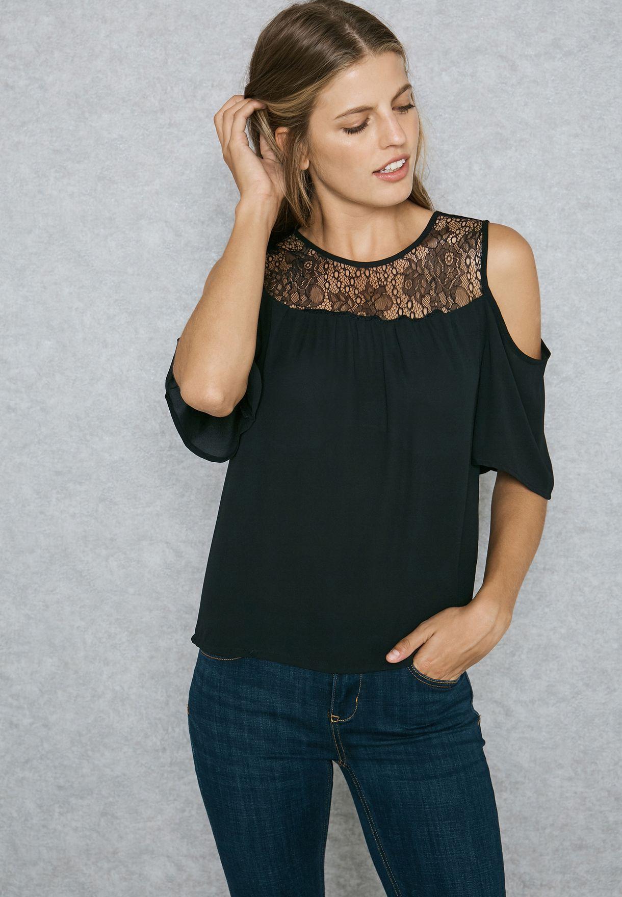b548af7ffe Shop Jacqueline De Yong black Cold Shoulder Top 15137210 for Women ...