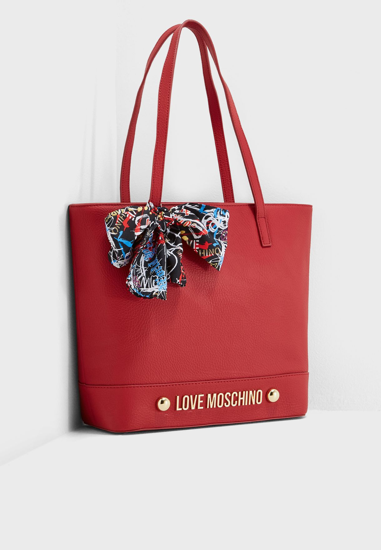 4fa7c52c22b2 Shop Love Moschino red Bow Tie Scarf Tote JC4125PP16LV0500 for Women ...