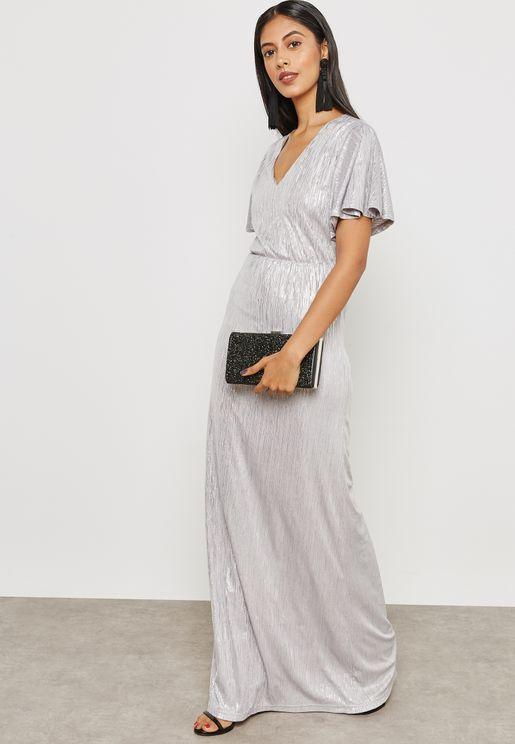 فستان ميتاليك باكمام واسعة