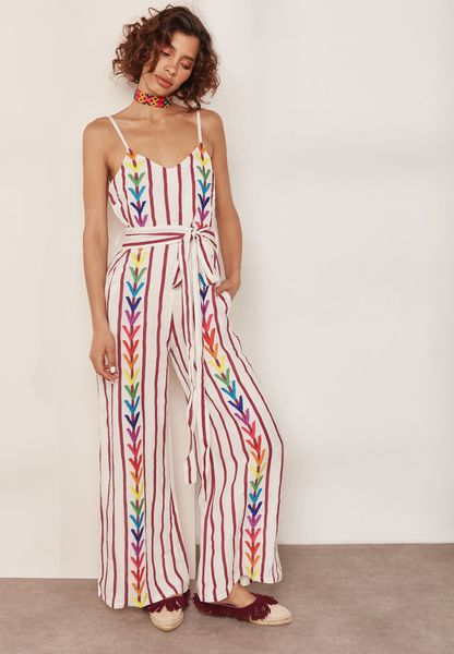Embroidered Striped Jumpsuit