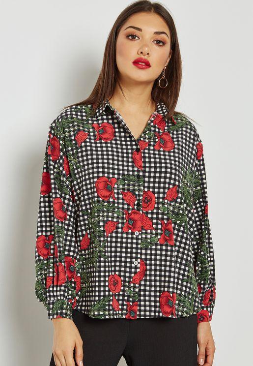 Checked Floral Print Boxy Shirt
