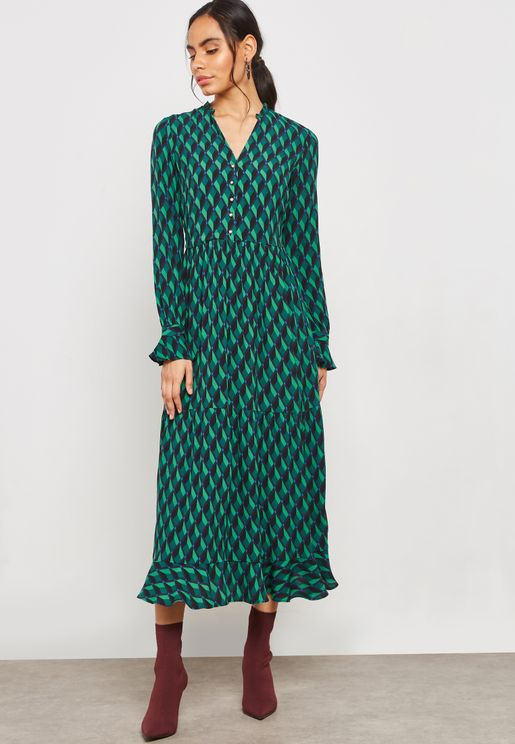 Printed Long Sleeve V-Neck Maxi Dress