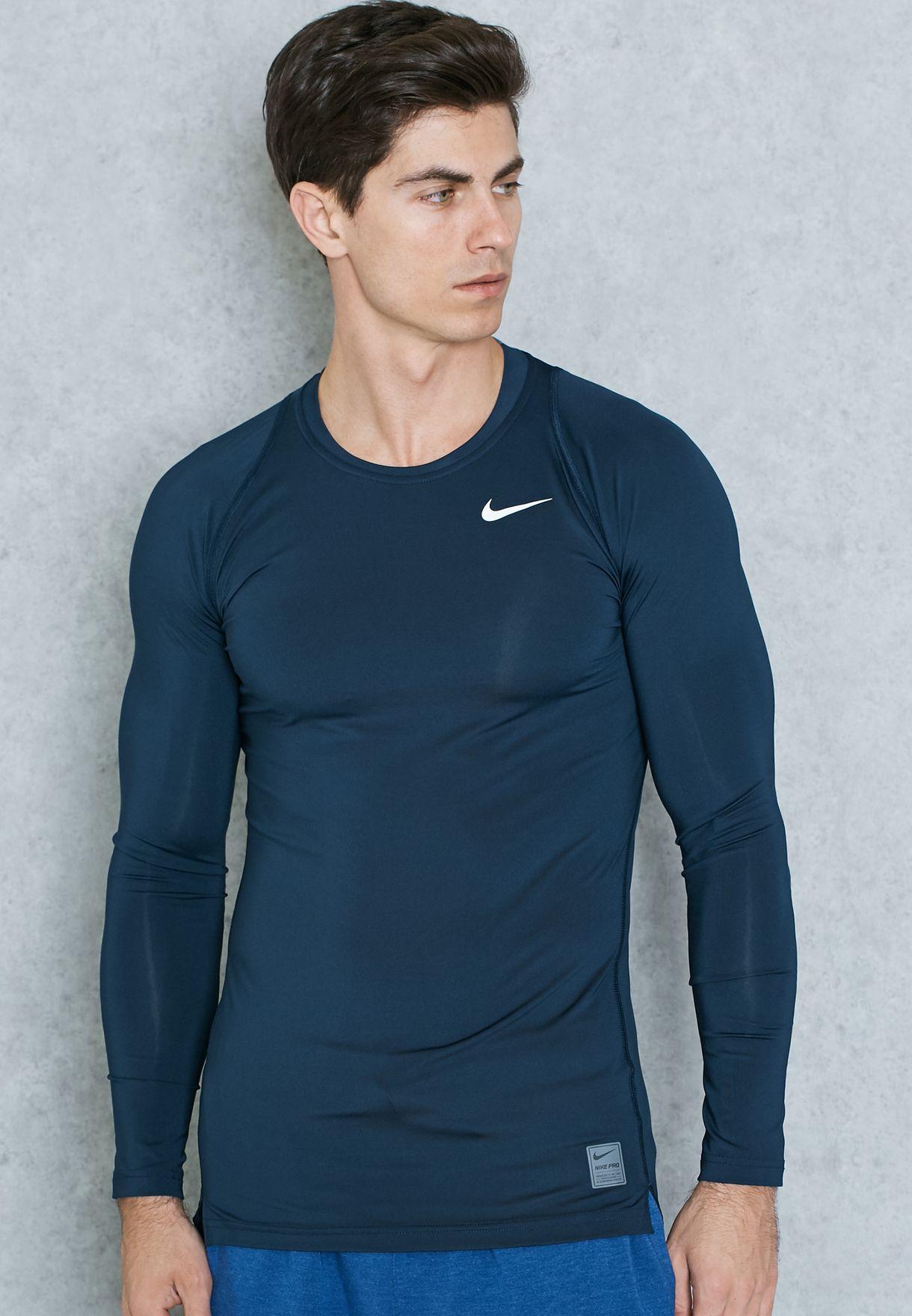 196d4dcbe Shop Nike navy Cool Compression T-Shirt 703088-451 for Men in Oman ...