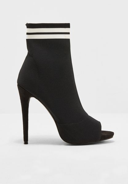 Peep Toe Sock Ankle Boots