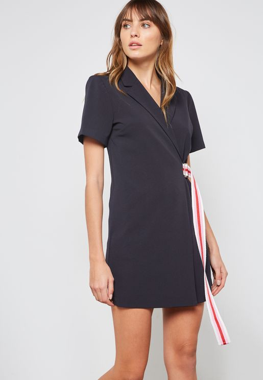 Contrast Tie Blazerl Dress