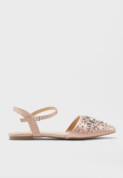 Embellished Ankle Strap Slip On