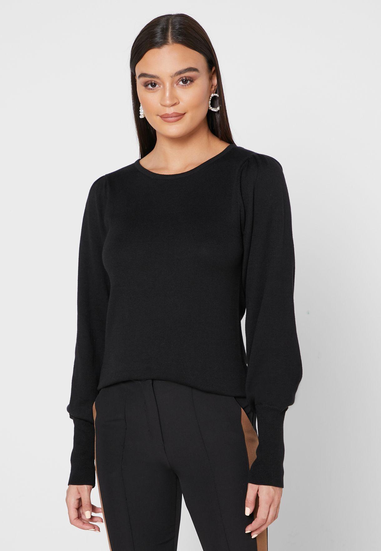 b5a6a40a541 Shop Ella black Ruffle Trim Sweater LK-162MALONE for Women in UAE ...