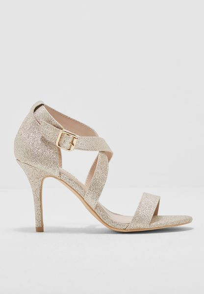Shimmer Cross Ankle Strap Sandals