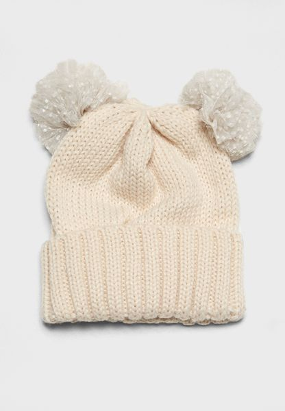 Two Pom Novelty Beanie Hat