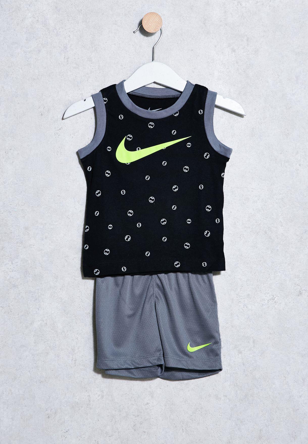 7a62287ae Shop Nike grey Infant Printed T-Shirt + Shorts Set 66C169-478 for ...