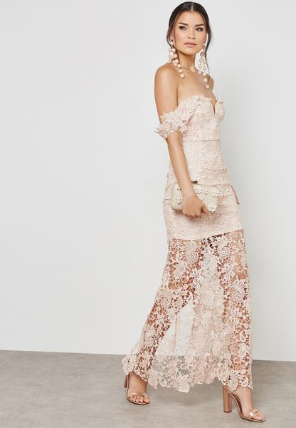 Lace Bardot Maxi Dress