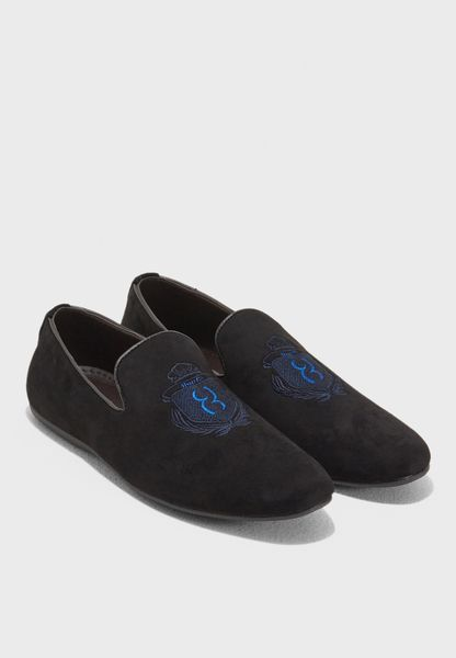 Faux Suede Embroidered Slip Ons