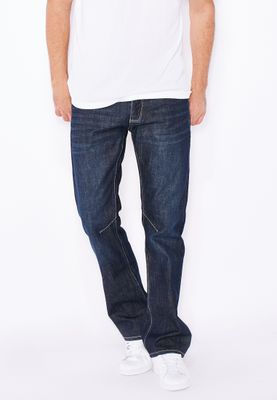 Crosshatch Relaxed Bootcut Dark Wash Jeans With Belt