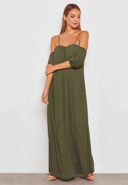 Plisse Cold Shoulder Maxi Dress