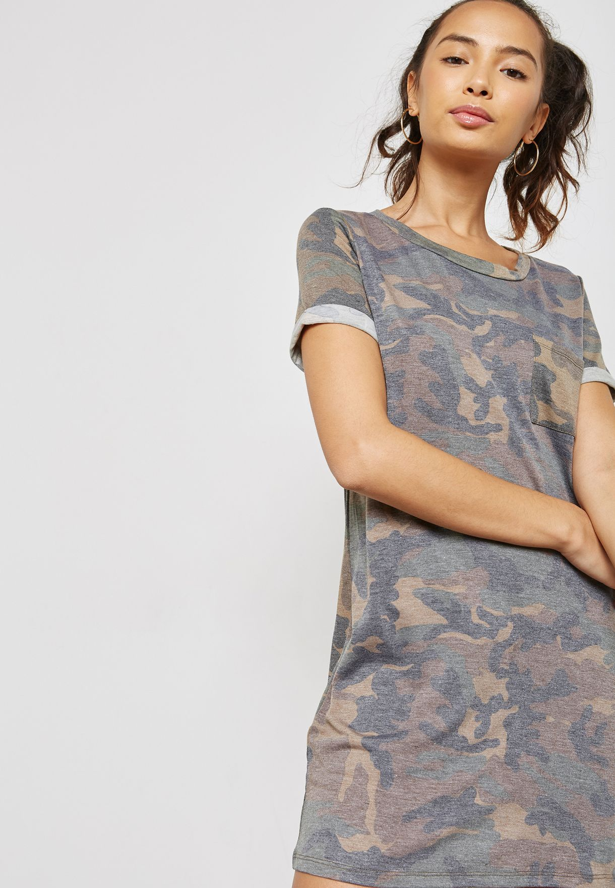 341229df2760 Shop Forever 21 prints Camo T-Shirt Dress 149132 for Women in Oman ...
