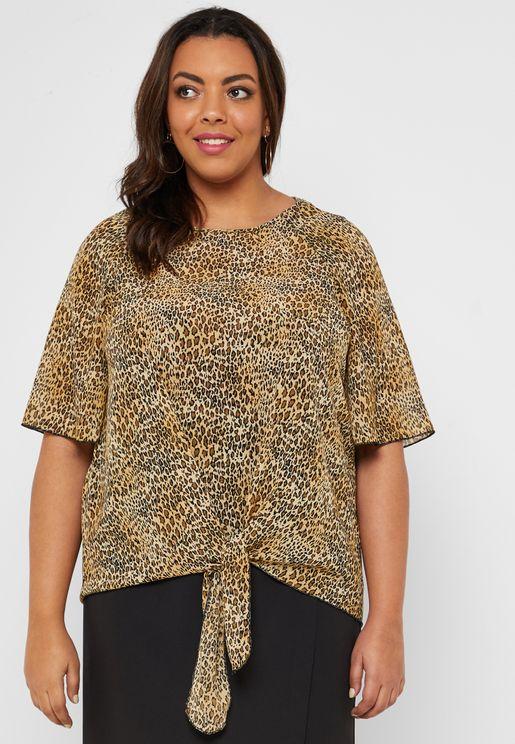 Leopard Print Tie Hem Top