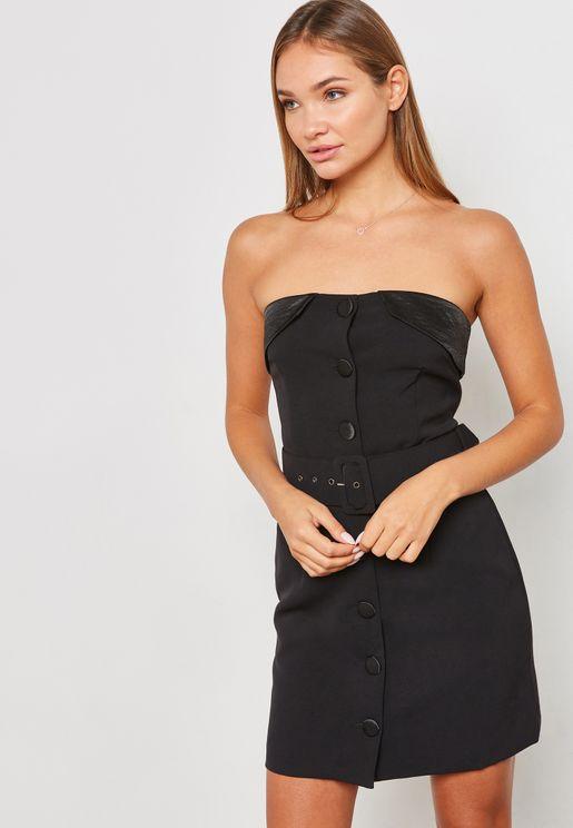 Belted Button Bandeau Detail Dress