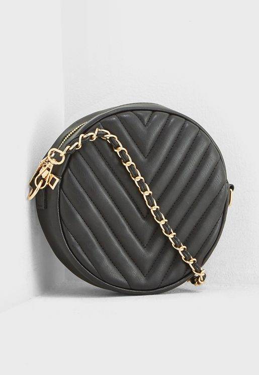 Round Quilted Crossbody Bag With Chain Strap
