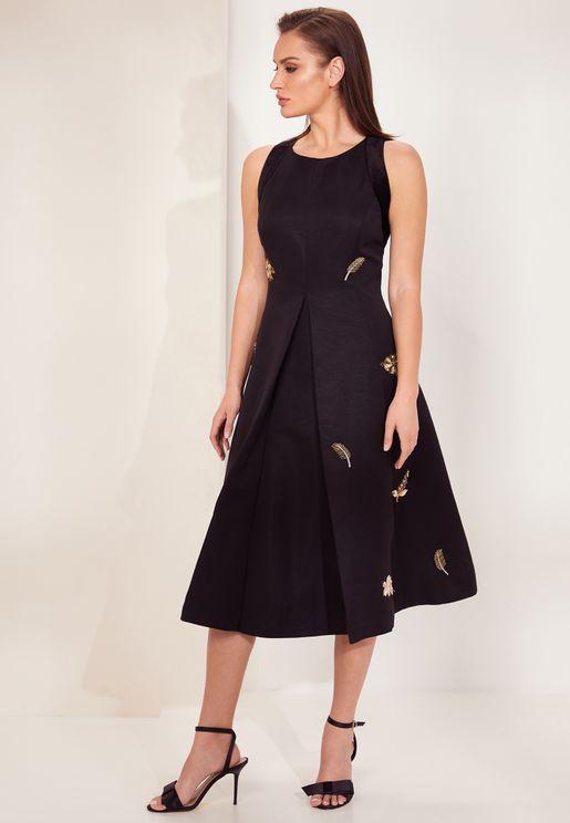 Flloraa Sleeveless Embellished  Printed Dress