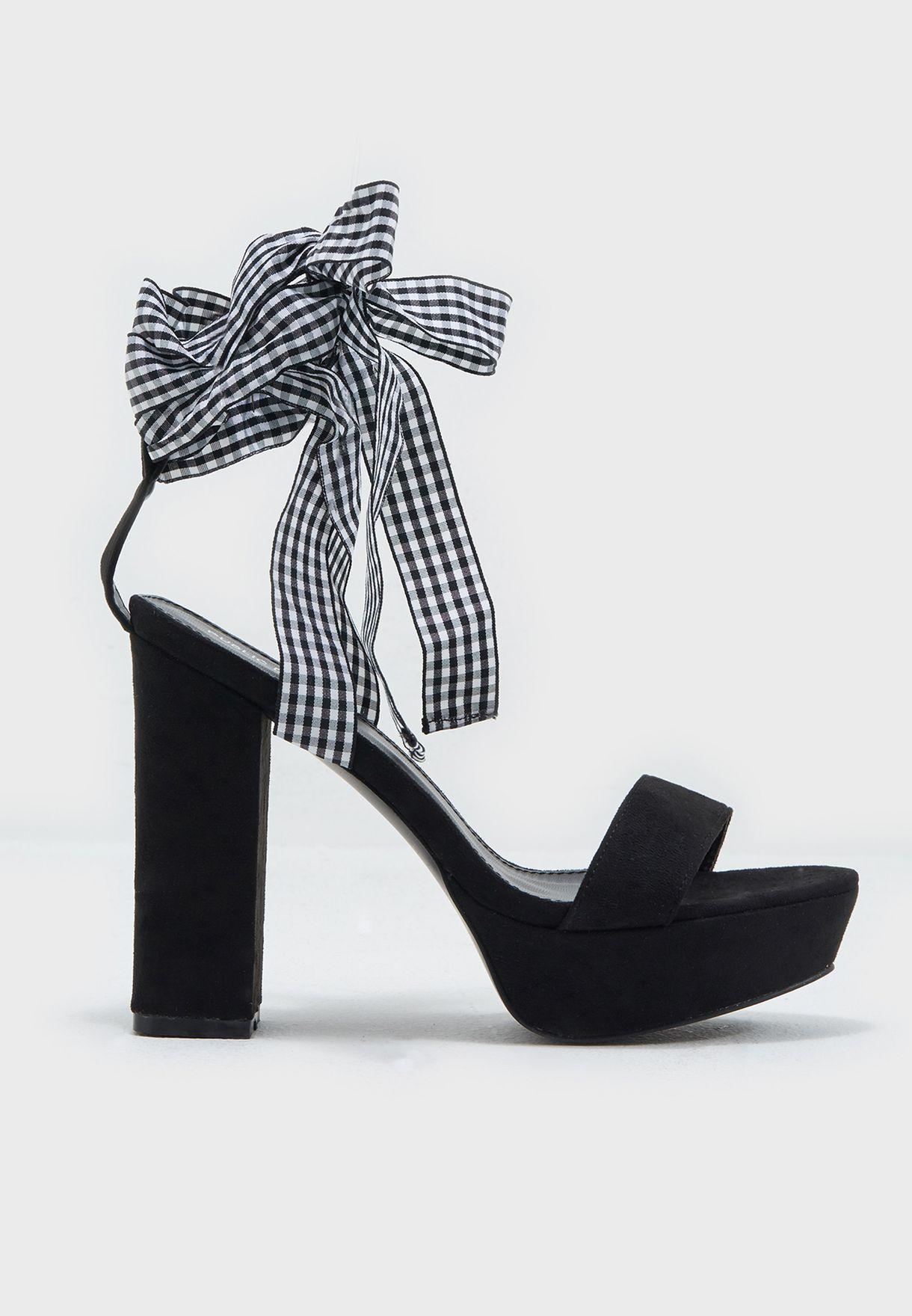 1410e2f0e0 Shop Public Desire black Strike Wrap Around Platform Heel STRIKE for ...