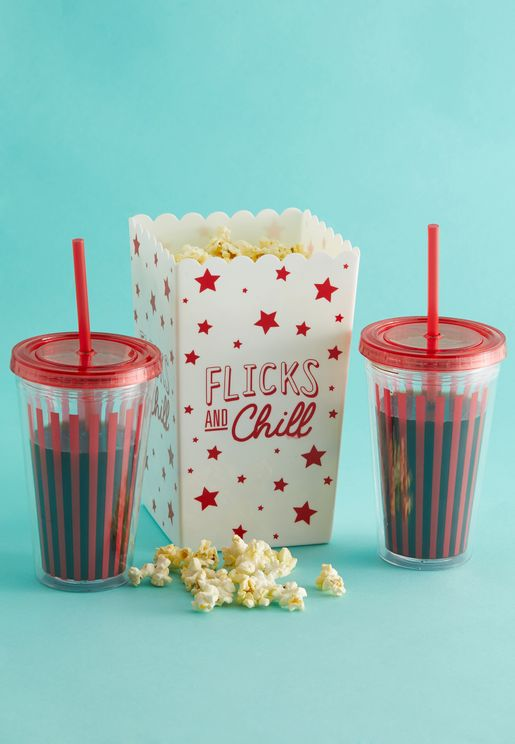 Flicks and Chill Popcorn Bucket and 2 Glasses