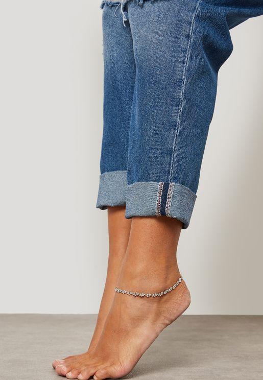 Delicate Overlap Crystal Anklet
