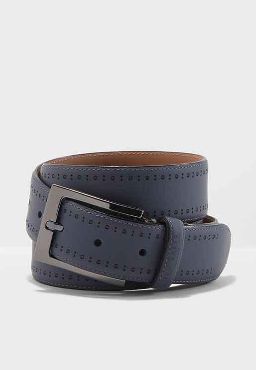Rubber Leather Brogue Belt