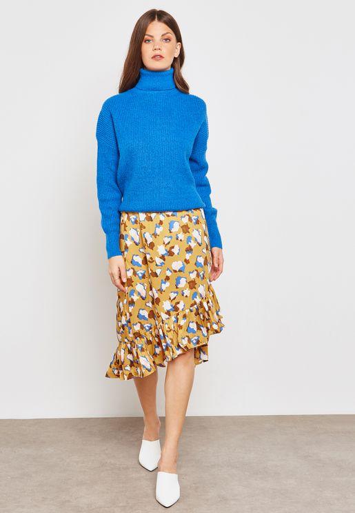 Printed Ruffle Asymmetric Skirt