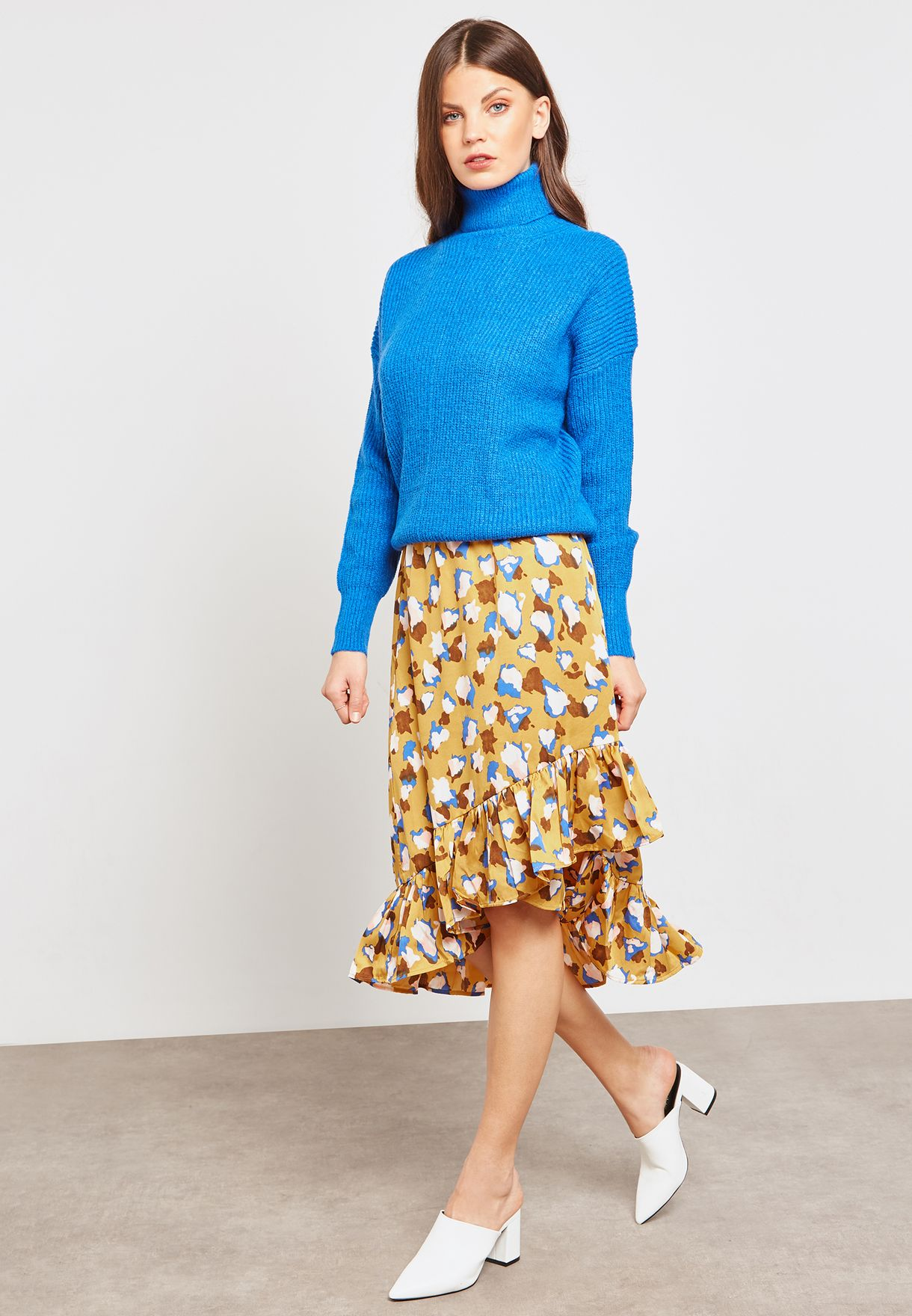 Printed Ruffle Asymmetric Skirt