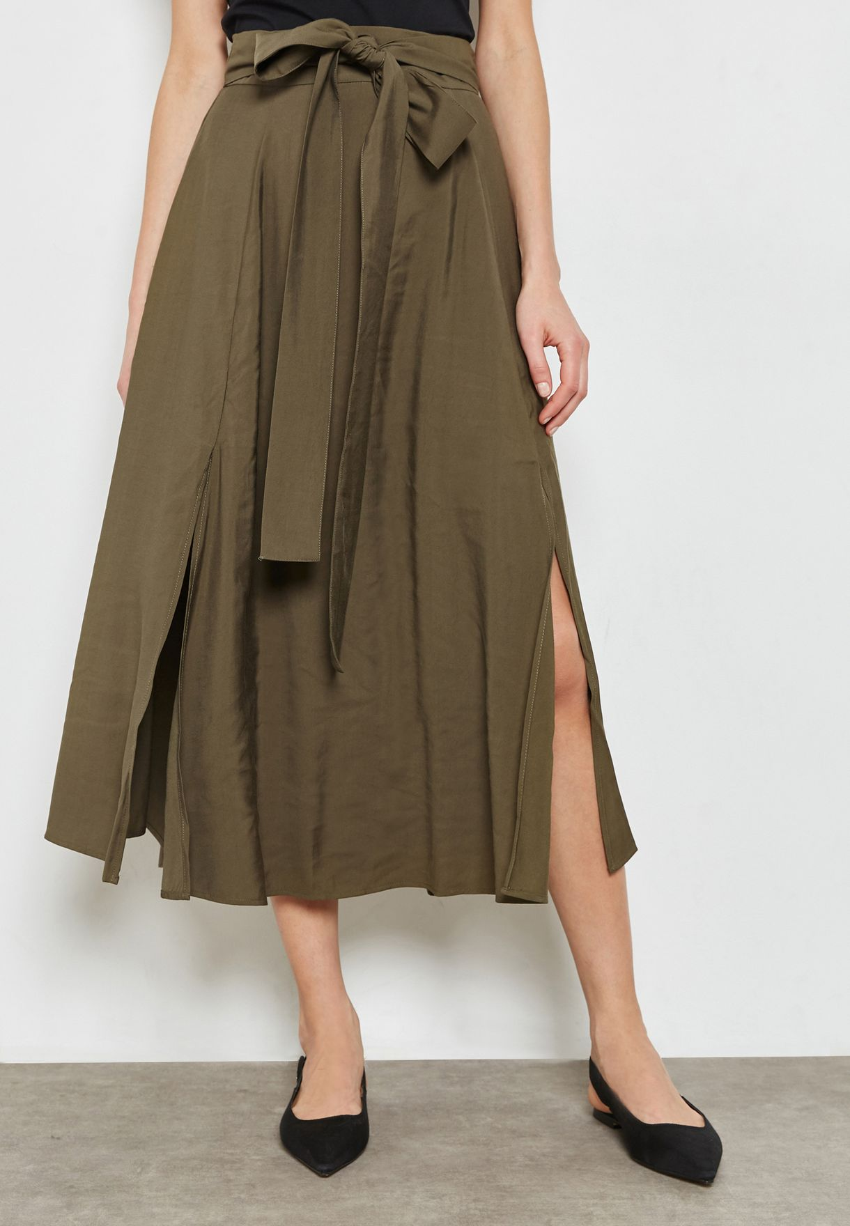 Belted Pleated Skirt