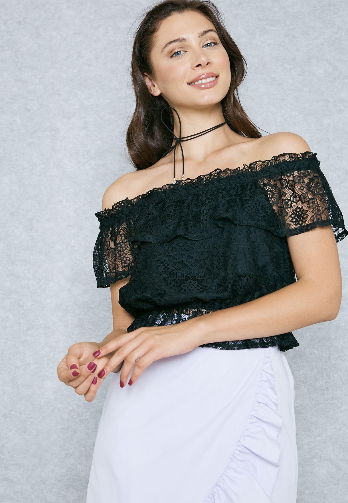 b04742b443751 Shop Miss Selfridge black Lace Bardot Top 12A41VBLK for Women in ...