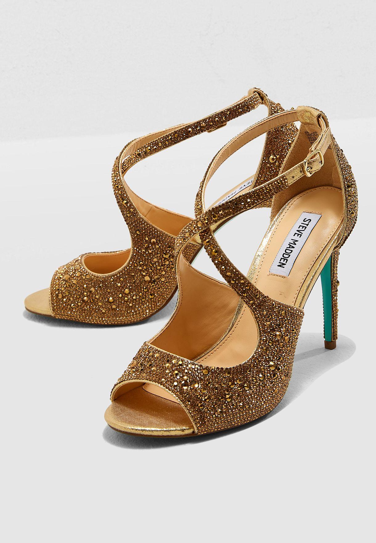 095216c7f Shop Steve Madden gold Sage Heel Sandal SB-SAGE for Women in Qatar ...