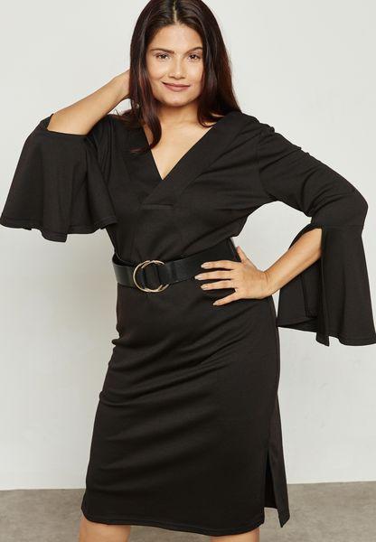 Belted Plunge Dress