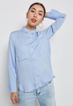 قميص بحافة متباينة الطول