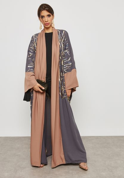 Shawl Look Embroidered Abaya
