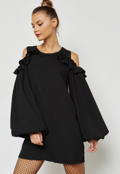 Balloon Sleeve Cold Shoulder Dress