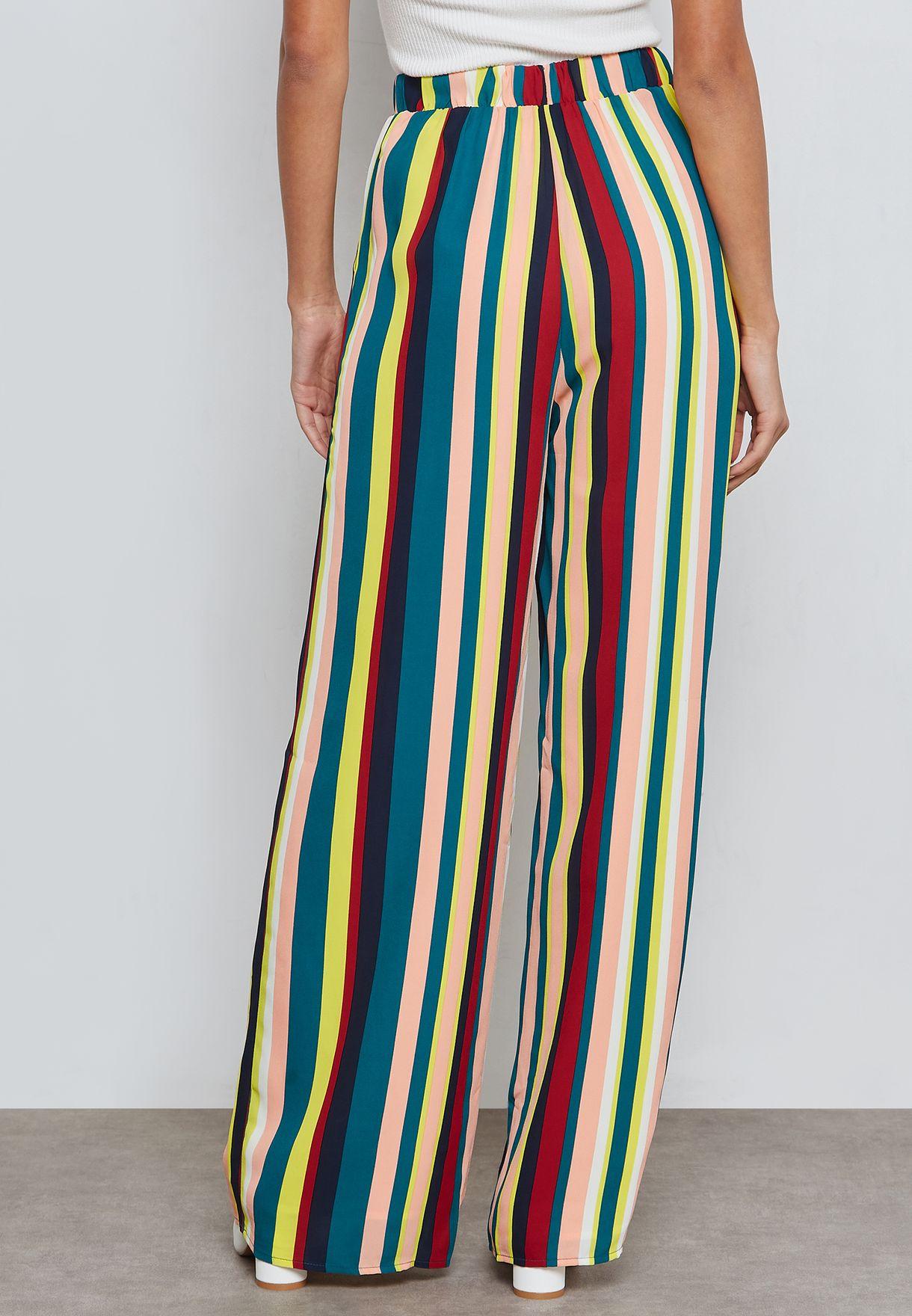 b8f8b0622dd Shop Forever 21 multicolor Multicolor Striped Palazzo Pants 287143 ...