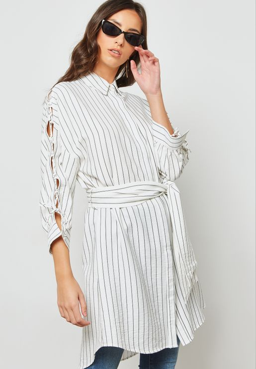 Striped Tie Front Tunic Shirt