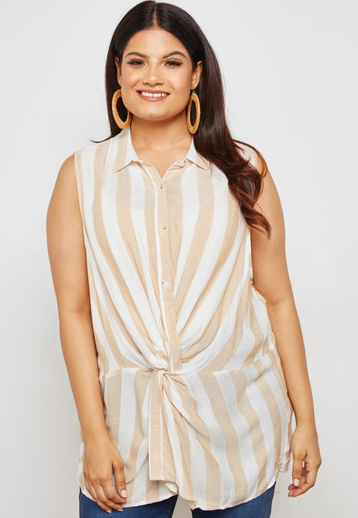 Striped Twist Front Sleeveless Top