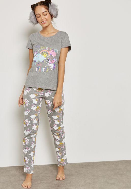 Unicorn Printed Pyjama Set