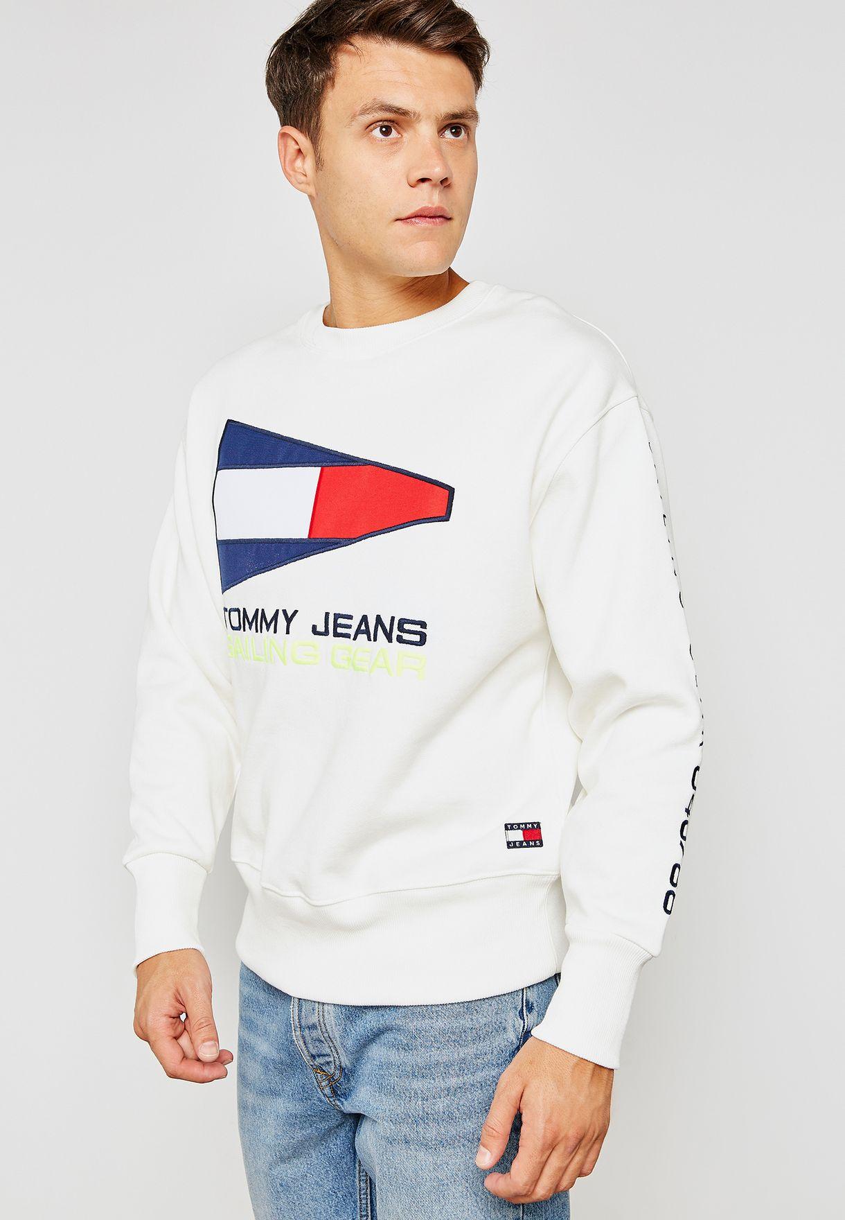 058ac089 Shop Tommy Jeans white Capsule 90s Sailing Logo Sweatshirt ...