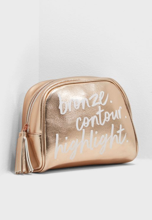 Rose Gold Quote Kyoto Cosmetic Bag